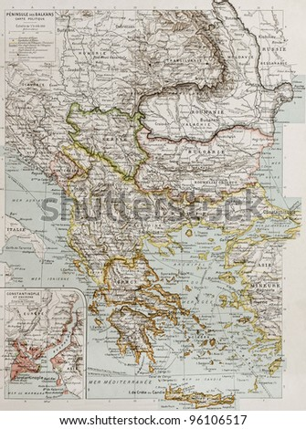 Balcan peninsula political map with Constantinople and Bosphorus insert plan. By Paul Vidal de Lablache, Atlas Classique, Librerie Colin, Paris, 1894 (first edition) - stock photo