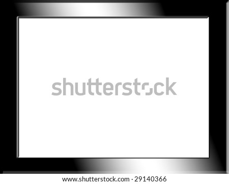 Balck chrome frame on white background. blank image