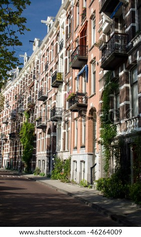 Balconies from appartments in Amsterdam, Holland - stock photo