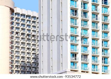 Balconies of modern buildings - stock photo