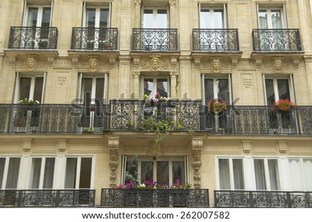 Balconies of Paris apartment building, Paris, France