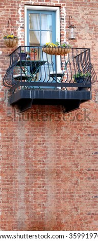 Balcony and brick wall space for text - stock photo