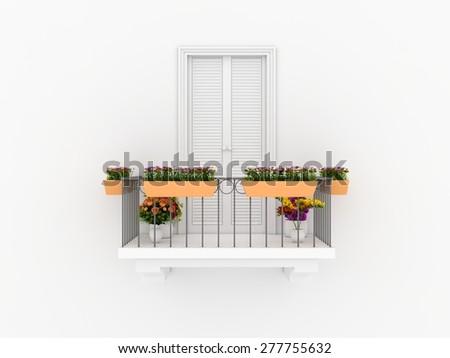 Balcony and flowers - stock photo