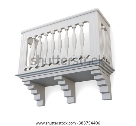 Balcony isolated on white background. 3d illustration.