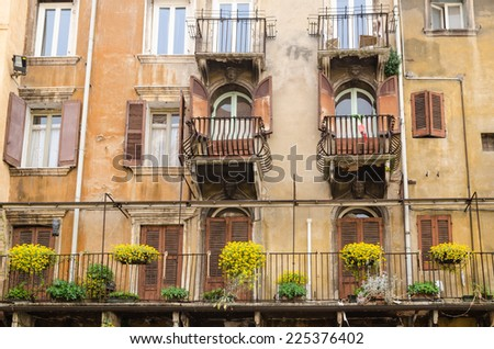 Balcony,Italy,Verona - stock photo