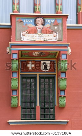 Balcony of Basel townhall,Basel,Switzerland - stock photo