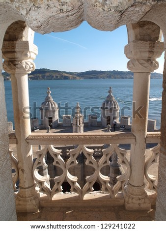 Balcony of the Bel�¨m Tower, Lisbon, Portugal. - stock photo