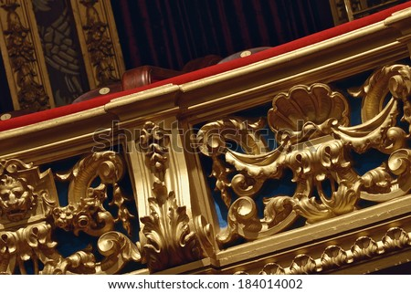 Balcony of the hall in the old theatre - stock photo