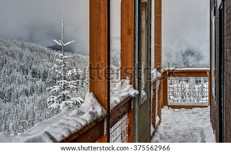Balcony of Volunteer Run Mountain Shelter Offers Sanctuary from Winter's Cold - stock photo