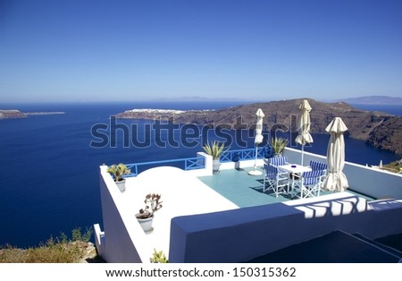Balcony overlooking the Aegean Sea with mountain view