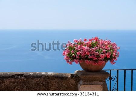 Balcony to the sea - stock photo