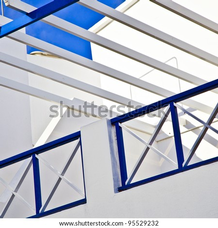 balcony under blue sky - stock photo