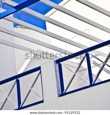 balcony under blue sky - stock photo