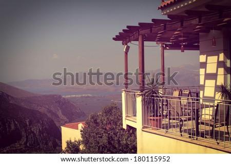 Balcony view. Vintage photo - stock photo