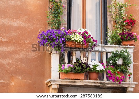 """balcony with colorful flowers"" stok gorseller ve telifsiz g."