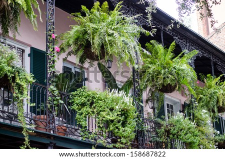 balcony with flowers, New Orleans - stock photo