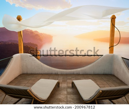 Balcony with Sea Views and two chairs vacation concept - stock photo