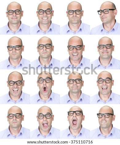 bald brunette glasses nerd adult caucasian man collection set of face expression like happy, sad, angry, surprise, yawn isolated on white - stock photo