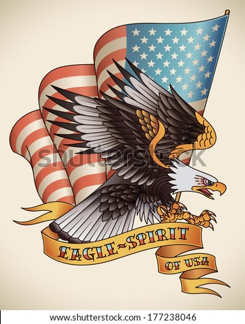 Bald eagle attacking with the flag of USA on the background. Old-school tattoo design. Raster image (check my portfolio for options.)