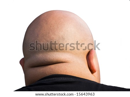 bald head isolated with clipping path - stock photo