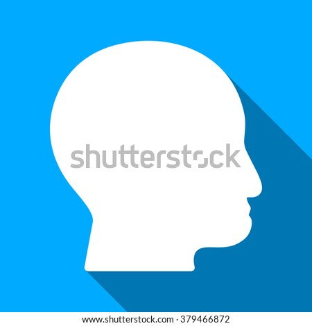 Bald Head long shadow raster icon. Style is a flat light symbol with rounded angles on a blue square background.