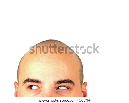 Bald head looking to the side - stock photo