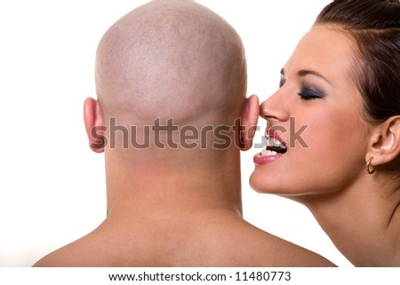 Bald man and beautiful girl isolated on white - stock photo