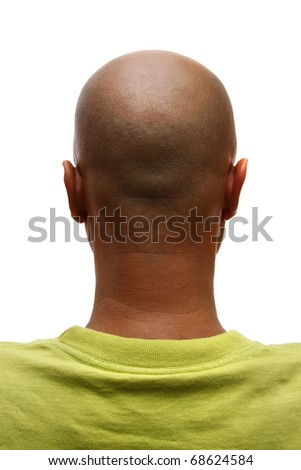 Bald man back, isolated on white background