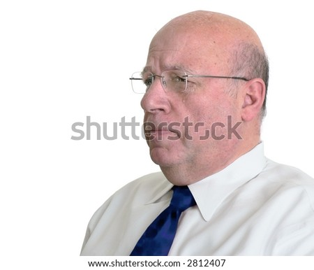 Bald man crying - stock photo