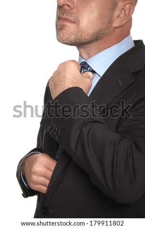 Bald man in a suit and tie on a white background
