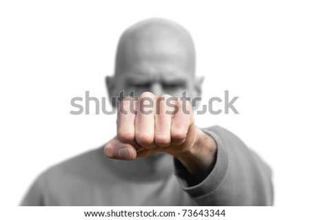 bald man with fist isolated on white - stock photo