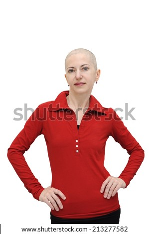 Bald woman in red shirt shirt standing with arms akimbo. Isolated on white