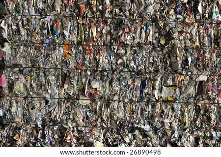 Bale of compressed paper for recycling - stock photo