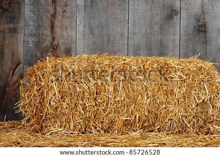 Bale of straw - stock photo