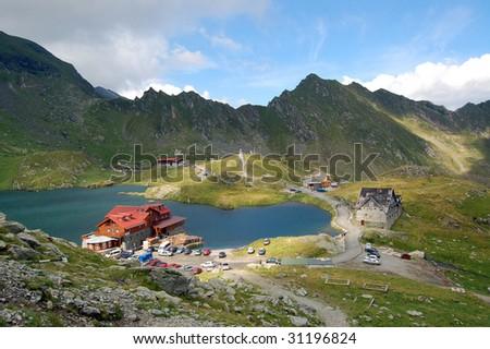 Balea cabin in the Fagaras mountains - stock photo