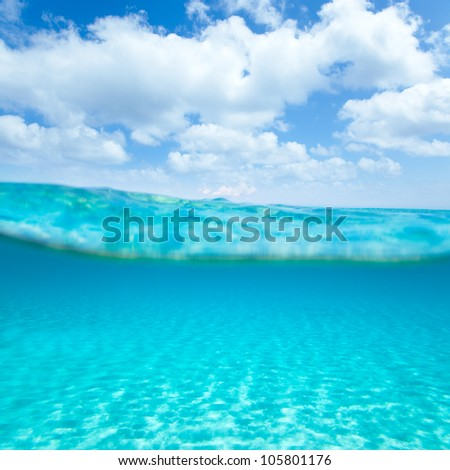 Balearic islands turquoise sea under over in out waterline tropical beach - stock photo