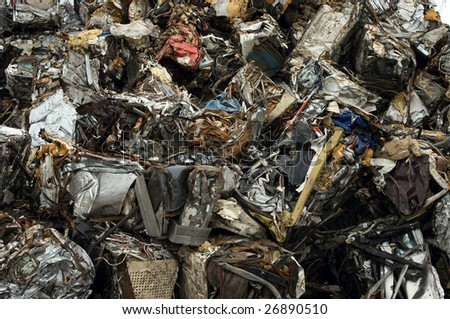 Bales of scrap metal for recycling - stock photo
