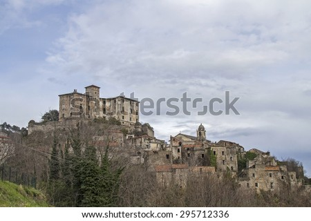 Balestrino - is left with its medieval town center by a landslide in 1950 and now completely locked - stock photo