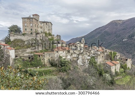 Balestrino -  its medieval town center is left because  a landslide in 1950 ddestroyed the houses - stock photo