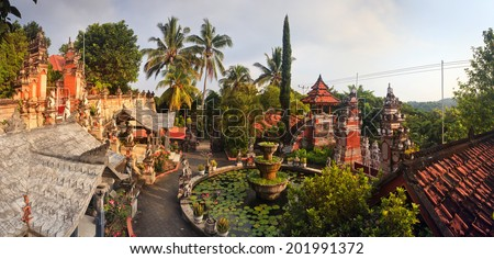 Bali buddhist temple Brahma Vihara-Arama Banjar panorama close to Lovina, Indonesia, small version of Borobudur temple on Java - stock photo