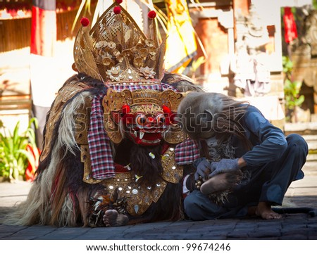 BALI, INDONESIA - APRIL 9: Monkey and Barong during presentation of classic national Balinese dance Barong on April 9, 2012 on Bali, Indonesia. Barong is very popular cultural show on Bali. - stock photo