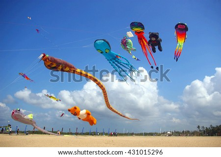 BALI, INDONESIA - AUGUST 15, 2009: Kite competition at the annual Sanur Beach Games, Bali, Indonesia.