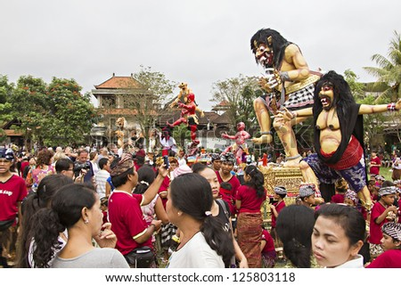 BALI, INDONESIA - MARCH 04: Balinese statue Ogoh-Ogoh ready for Ngrupuk parade on March 04, 2011 in Ubud; Bali. Statues Ogoh-Ogoh made for vanquish the negative spirits during the Balinese New Year