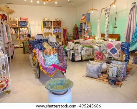 BALI, INDONESIA - SEPTEMBER 18, 2016: Colorful fabric emporium, Bali, Indonesia.