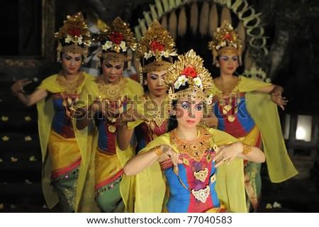 BALI - MAY 4: Legong and barong dance performed by sekehe Gong Panca Artha at Ubud Place in Ubud, Bali. May 4, 2011 in Bali, Indonesia. - stock photo