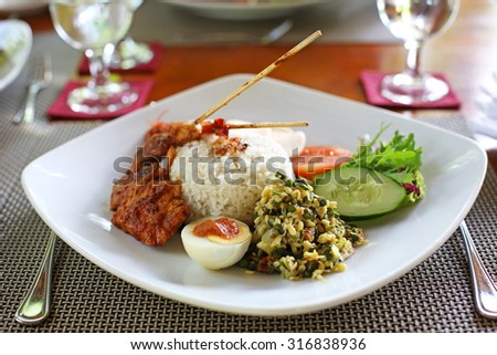 Balinese chicken and shrimp satay - stock photo