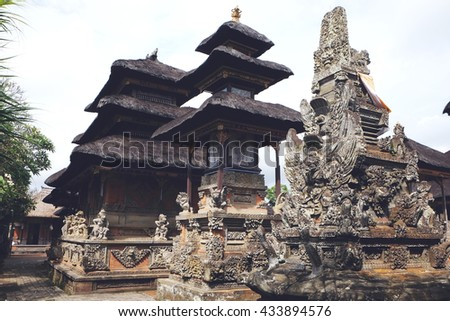 Balinese Hindu temple in Bali, Indonesia, Asia. Traditional pagoda.  - stock photo