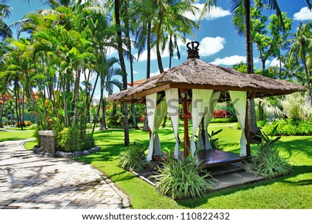 Balinese relaxing holidays - stock photo