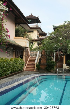 Balinese Villa with swimming pool - stock photo