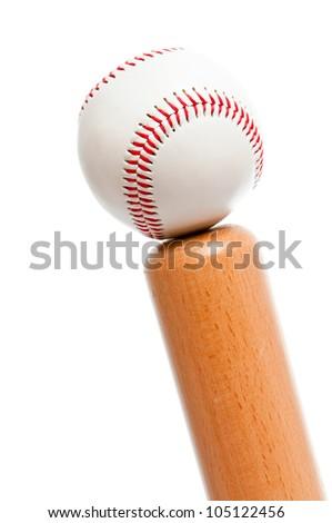 ball and baseball bat isolated on white background - stock photo